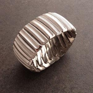 Vintage Silver Deco Stretch Bracelet